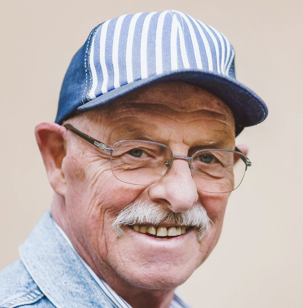 Image of elderly man smiling  on a website for a compounding pharmacy located in Dayton, Ohio.